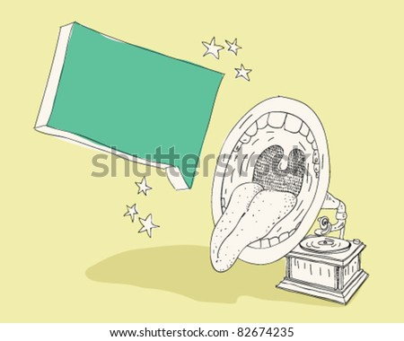 Old record player with mouth. - stock vector