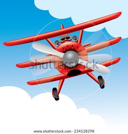 Old Red Baron plane cartoon vector illustration - stock vector