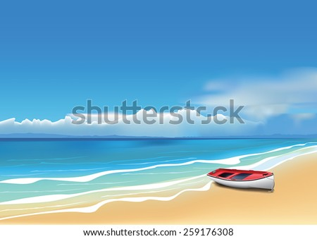 Old red boat on beautiful beach. (Used mesh tool). - stock vector