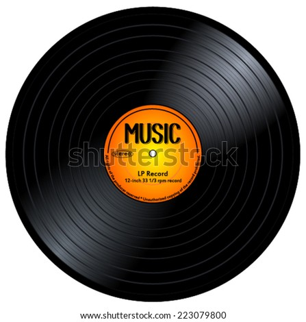 Old, retro black gramophone music record, LP, vintage 33 rpm vinyl long play disc with yellow / orange color label. eps10 vector art image illustration, realistic design. isolated on white background  - stock vector