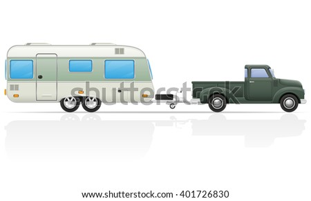 old retro car pickup with trailer vector illustration isolated on white background