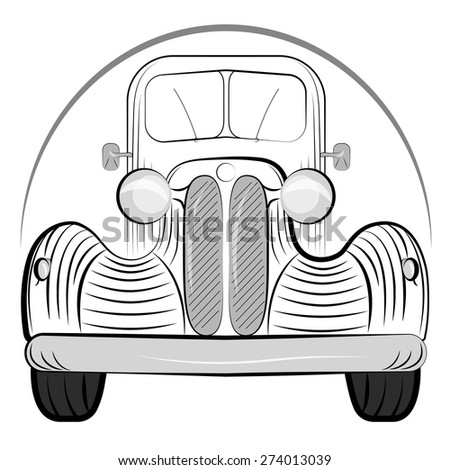 Old Retro Car Side View Vintage Drawing Style Vector Illustration