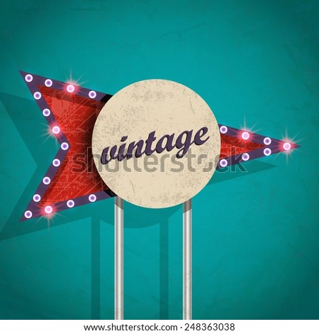 old retro information sign / vector poster for your design - stock vector