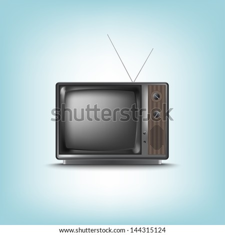 Old retro television on a blue background