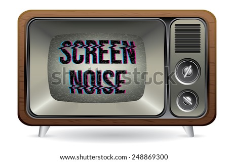 Old retro TV with screen noise illustration vector isolated - stock vector
