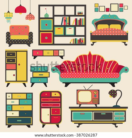 Old retro vintage house appliance furniture and interior decoration flat icon design, create by vector