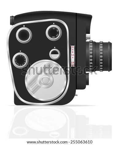 old retro vintage movie video camera vector illustration isolated on white background - stock vector