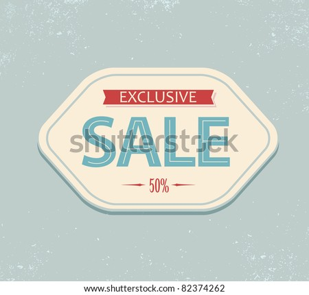 Old retro vintage sale label - blue and red - stock vector