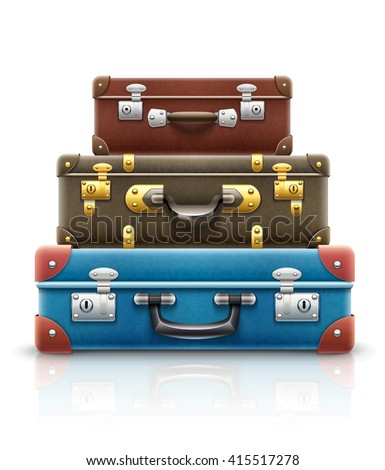 Old retro vintage suitcases bags pile for travel. Vector illustration. Isolated on white background. Retro cases. Vintage boxes. Travel suitcase boxes with luggage for vacations. Suitcases pile.