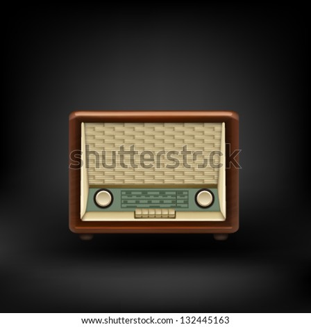 Old retro wooden radio. Vector