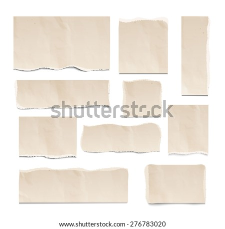 Old ripped pieces of paper set isolated on white background, vector illustration. Square, rectangular design elements, vector illustration - stock vector