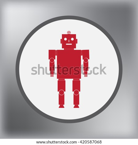 Old robot icon, vector illustration. Flat design style - stock vector