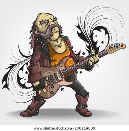 Old rock musician with a guitar - stock vector
