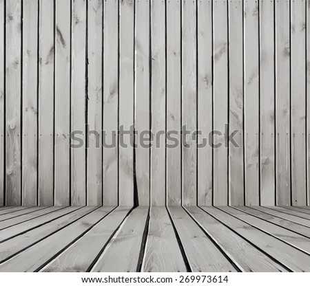 old room, white wooden wall, vector - stock vector