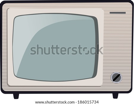 Old Russian black and white TV set - stock vector