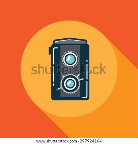 Old russian medium format twin lens reflex camera body - stock vector
