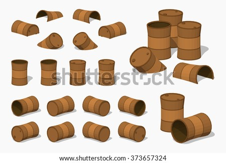 Old rusty barrels. 3D lowpoly isometric vector illustration. The set of objects isolated against the white background and shown from different sides - stock vector
