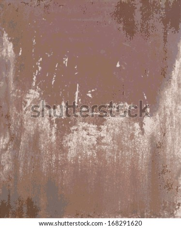 Old rusty metal plate heavily aged and corroded. The corrosion stain creates a grungy frame. - stock vector