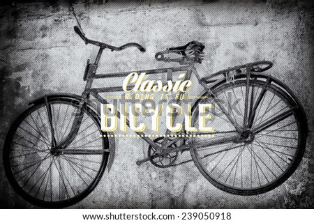 Old rusty vintage bicycle near the concrete wall - stock vector
