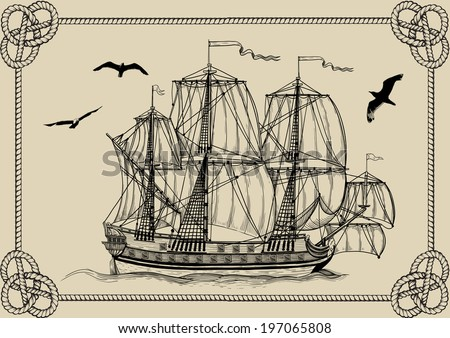 Old sailing warship in frame of rope on a beige background - stock vector