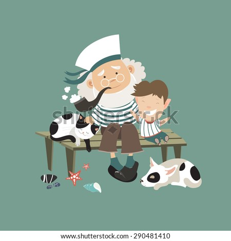 Old sailor sitting on bench with grandson. Vector illustration - stock vector