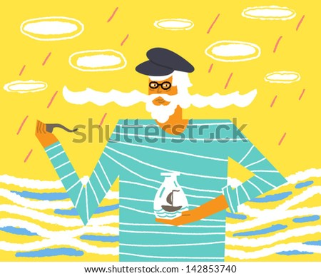 Old sailor with a big mustache and a ship in a bottle. Vector illustration - stock vector