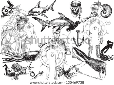 Old Salt, grand collection - Captains, pirates and sea monsters. /// A hand drawn illustrations converted into black vector outlines. Each figure is in special layer. - stock vector