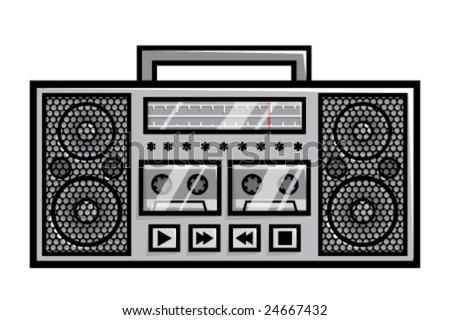 Old school boombox, vector - stock vector