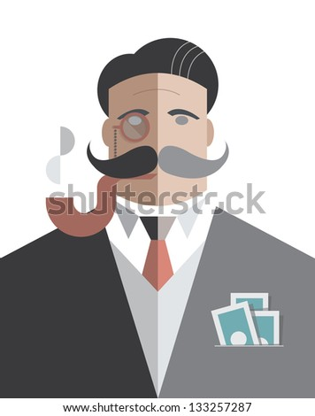 Old school businessman with monocle and smoking pipe with pack of dollars in the pocket