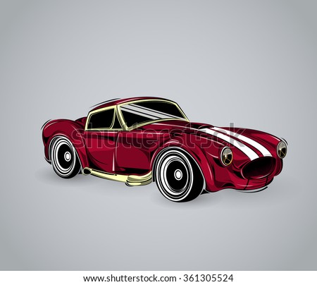 old school car. Muscle car. Print for poster or t-shirt. Vintage American Muscle Car Vector Silhouette. Muscle car templates for icons and emblems isolated on white background. - stock vector