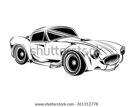 old school car. Muscle car. Print for poster or t-shirt. Vintage American Muscle Car Vector Silhouette. Muscle car templates for icons and emblems isolated on white background.