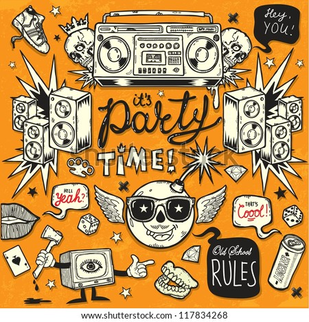 Old School Style Party - stock vector