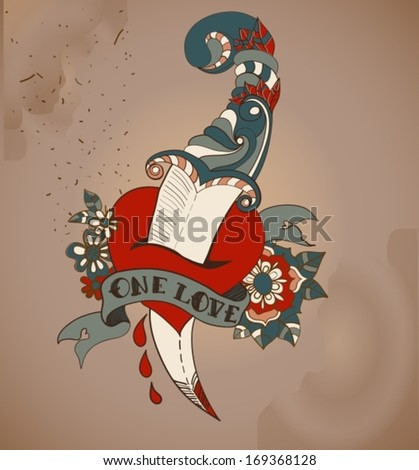 Old-school style tattoo heart with flowers and dagger, Valentine illustration for Holiday design, vector