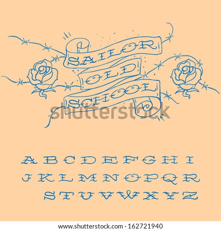 Old-school styled tattoo alphabet set, vector illustration.  - stock vector