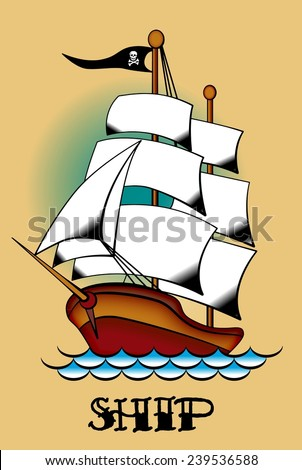 Old-school styled tattoo of a pirate ship. Editable vector illustration. - stock vector