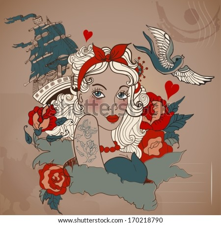 Old-school styled tattoo woman with bird and ship, Valentine illustration for Holiday design, VECTOR - stock vector