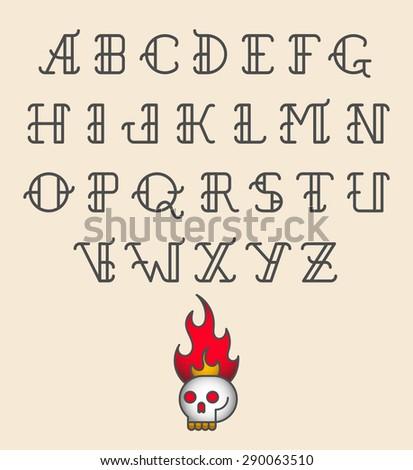 Old school tattoo alphabet. Vector - stock vector