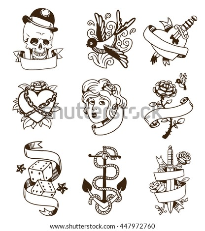 Old school tattoo elements vector set. Cartoon vector tattoos in funny style anchor, dagger, skull, flower, star, heart and old vintage ink hand drawn tattoo. Woman head rose thorns and wounded heart - stock vector