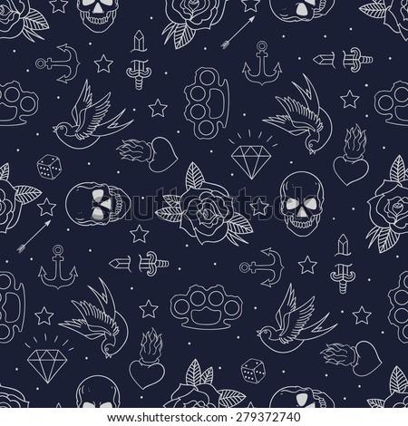 Old school tattoo seamless pattern. Cartoon vector tattoo doodle elements: anchor, dagger, skull, flower, star, heart, diamond, swallow, star, brass knuckles . Dark background - stock vector