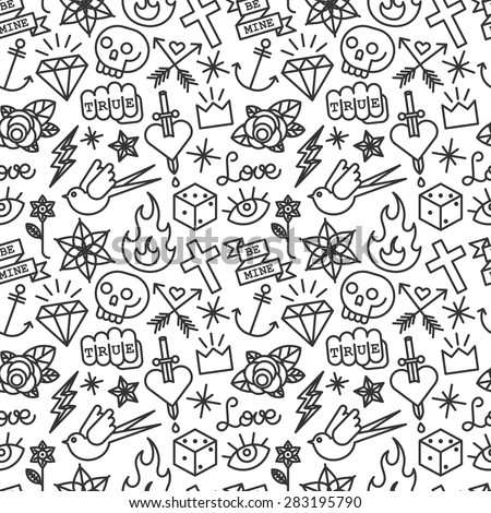 Old school tattoo seamless pattern. vector background