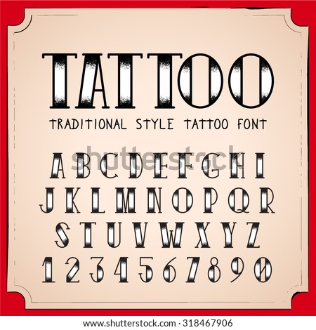 old school tattoo style font vector stock vector 318467906 shutterstock. Black Bedroom Furniture Sets. Home Design Ideas