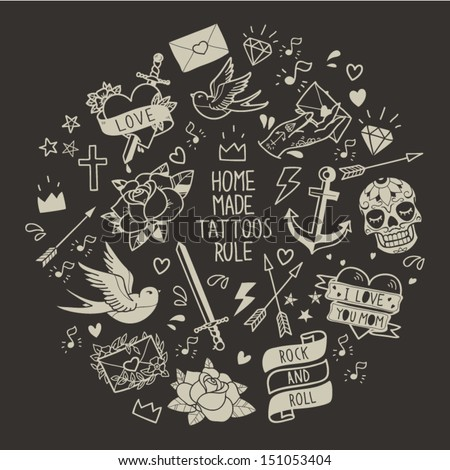 Old school tattoo vector elements. Cartoon tattoos  in funny style: anchor, dagger, skull, flower, star, heart, diamond, scull and swallow  - stock vector