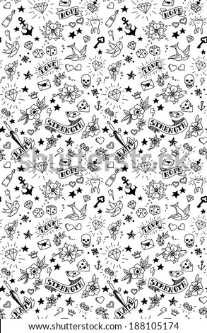 old school tattoos elements pattern, vector illustration - stock vector