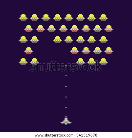 Old school ufos arcade game vector illustration