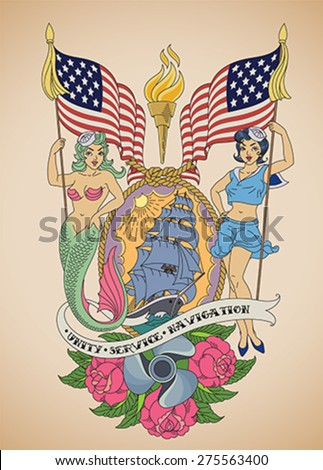 Old-school US Navy tattoo of a sensual pin-up sailor and a mermaid with the flags in their hands. Editable vector illustration. - stock vector