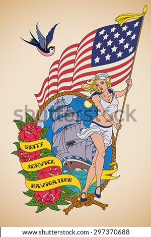 Old-school US Navy tattoo of a sensual woman sailor with the US flag in her hands. Editable vector illustration.