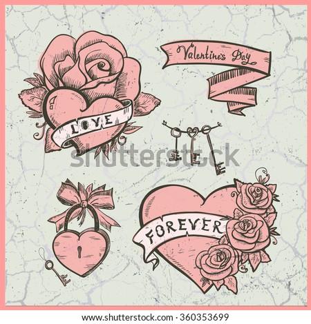 Old School Vector Graphic Set Hearts Stock Vector 360353699