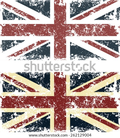 Old scratched flag. Vector illustration of vintage English flag - stock vector