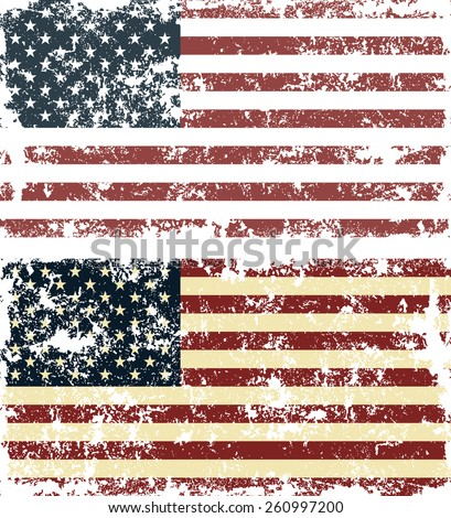 Old scratched flag. Vector illustration of vintage USA flag - stock vector