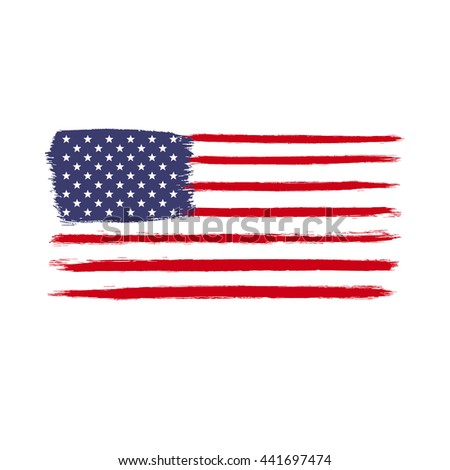 Old scratched flag. Vector illustration of vintage USA flag. Easy to use and edit for poster, cover, banner.  - stock vector